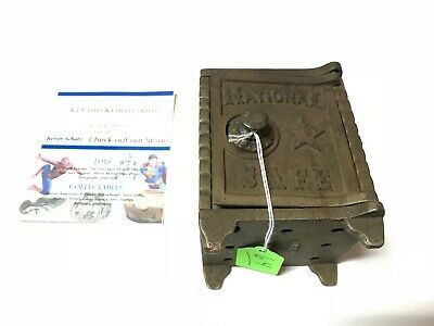 Antique National Safe Coin Piggy Bank Cast Iron Steel Early Bank