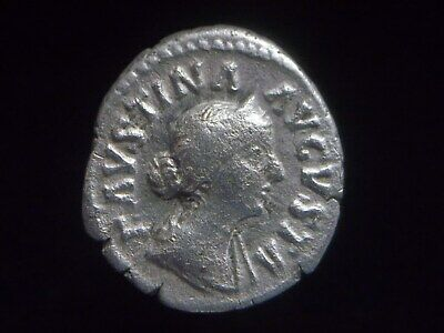 Silver Denarius of Faustina II wife of Marcus Aurelius Childern on throne AC0257