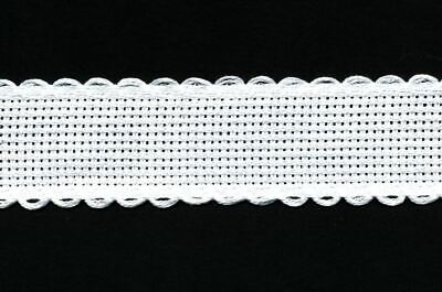 Zweigart 1 Metre Antique White Aida Band 2.5cm/1 Inch White With a Scalloped Edg