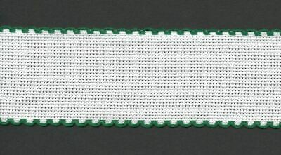 Zweigart 1 Metre White Aida Band 5cm/2 Inch White With a Green Scalloped Edging