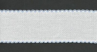 Zweigart 1 Metre White Aida Band 2.5cm/1 Inch White With a Light Blue Scalloped