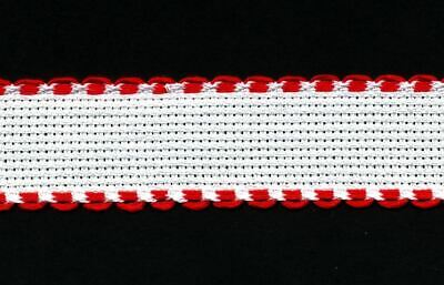 Zweigart 1 Metre White Aida Band 2.5cm/1 Inch White With a Red Scalloped Edging