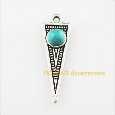 10 New Triangle Charms Turquoise Tibetan Silver Tone Pendants Retro 9x28.5mm
