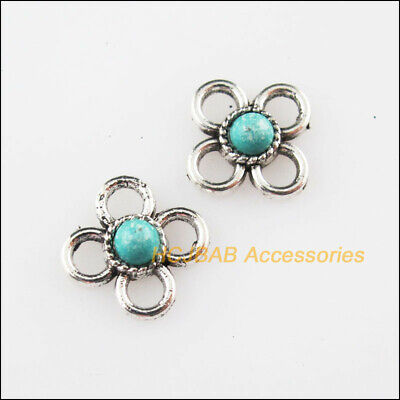 25 New Tiny Flower Charms Connector Turquoise Tibetan Silver Retro 9.5mm