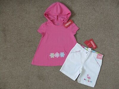 GYMBOREE Girls Pink White Flower Flamingo Top Shorts Outfit, Size 3 years, BNWT