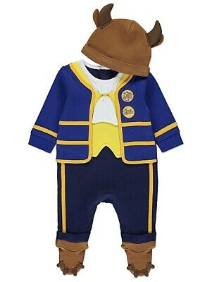 Brand new Baby boys Disney Beauty and the Beast All in One with Hat 9-12months