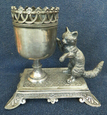 Antique Silverplate Cat Toothpick Holder James Tufts Boston