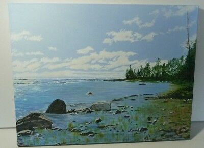 """Oil Painting On Canvas 18"""" x 14"""" x 1"""" Titled """"Northern Shore"""" Northern Ontario"""