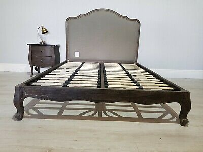 Feather & Black Double size Sienna grey Oak french upholstered Bed  RRP £1045