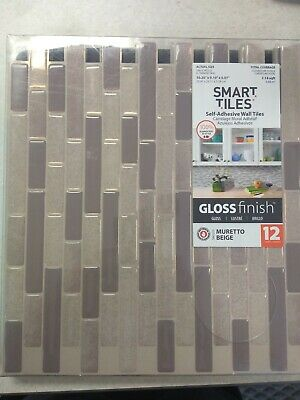 SMART TILES SELF Adhesive Wall Tiles Gloss Finish Muretto Beige 12 units