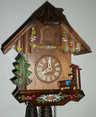 Very Nice German Black Forest Chimney Sweep Mountain Cabin Chalet Cuckoo Clock!