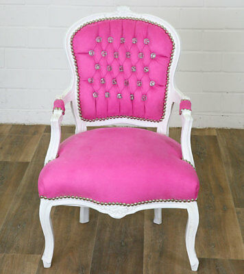 BAROCK STUHL ANTIK-weiß DIAMOND-LOOK CHAIR, LUXUS BAROCK SESSEL STUHL PiNK weiss
