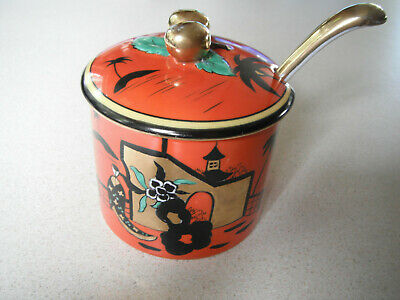 PRICE DROP Noritake Morimura 3pc Jar w/Lid/Spoon-Hand Painted-Gold-Japan-(1918)