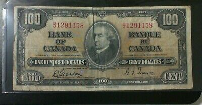 1937 Bank Of Canada $100.00 Banknote Gordon Towers
