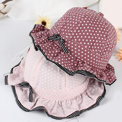 Summer Baby Pot Cap Small Dot Bow Girl Child Hat Fisherman Casual Hat LD