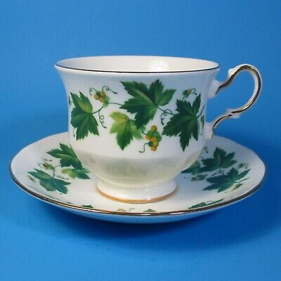 Queen Anne Bone China Tea Cup & Saucer Set Green Ivy England