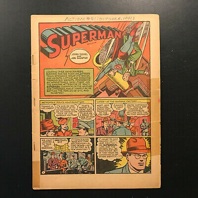 Action Comics #41 starring Golden-age Superman! (1941) coverless