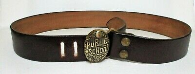 Vintage City Of New York Public School Solid Brass Belt Buckle On Leather Belt