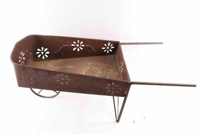 Vintage Rustic Metal Wheelbarrow Plant Stand Flower Cutouts Folk Art