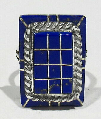 FINE Vintage Signed Zuni Joe Eustace 925 Silver 2 Tier Raised Inlay Lapis Ring 6