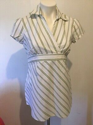 NWT  Maternity Womens Pullover Stretch Top Size S Striped Blouse  Short Sleeve