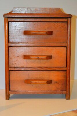 Vintage Homemade MINIATURE Wooden 3 Drawer Chest/Jewelry Box/Child Furniture