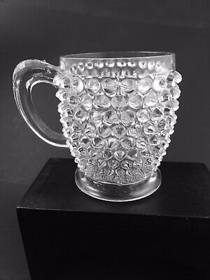 EAPG Antique Hobnail Pattern Glass Mug American Clear Footed Victorian Punch Cup