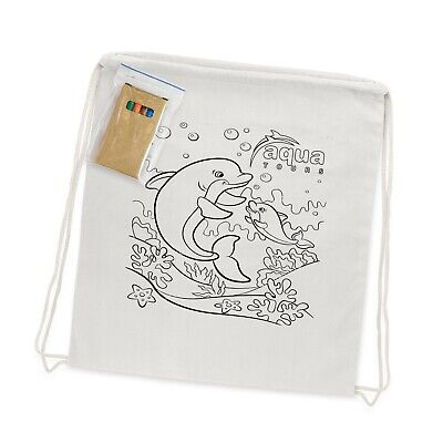 100 x Printed Cotton Colouring Drawstring Backpack Bags Bulk Promotion Business