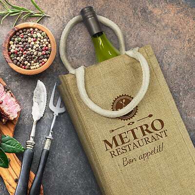 50 x Donato Jute Double Wine Carrier Bags Gifts Promotion Business Merchandise