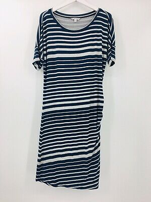 Cabi Striped Perfect Tee Dress Womens MED Short Sleeve Ruche Side Rayon Stretch
