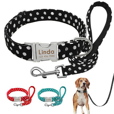 Personalized Dots Dog Collars and Leash Custom Pet Name ID Heavy Buckle S M L