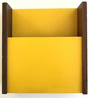 Vintage Mid Century Modern Peter Pepper Products Yellow Magazine Holder / Rack