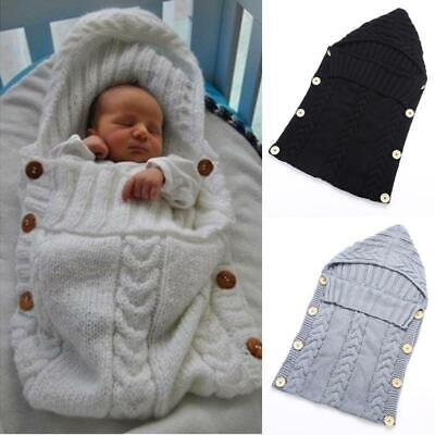 Baby Infant Swaddle Wrap Warm Wool Blends Knitted Hoodie Sleeping Bag (GREY)