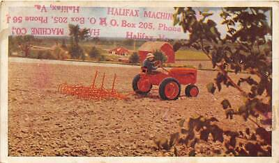 Allis Chalmers Tractor Model C Farming 1940s advertising postcard