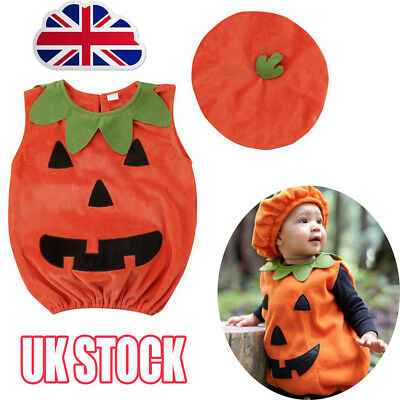 Cosplay Halloween Baby Kid Pumpkin Suit Top Blouse Dress+Hat Clothes Costumes AK