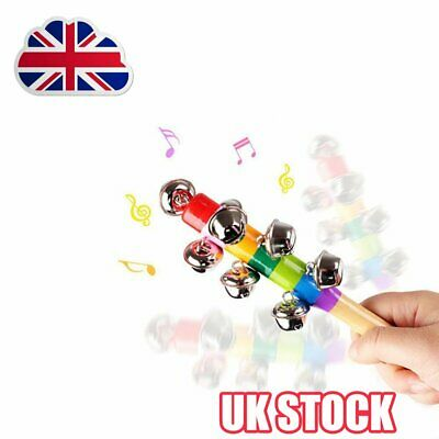 10-Bell Jingle Rainbow Shaker Stick Musical Instrument Kid Baby Funny Toy TOP AK