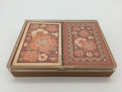 """Vintage Hallmark Bridge Playing Cards """"Adobe Roses"""" Two Complete Decks with Case"""