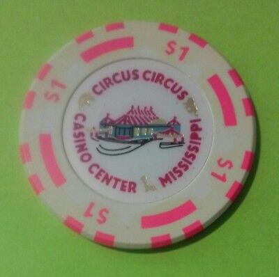 Circus Circus Casino Center, Ms.tent Logo $1.00 Chip Great For Collection!