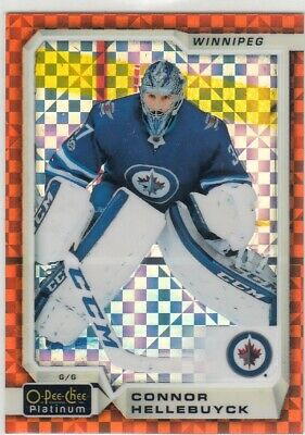 2018-19 O-Pee-Chee Platinum Orange Checkers Connor Hellebuyck 16/25