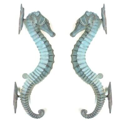 "2 seahorse DOOR PULLS 30cm seaside green brass  old style house handle 12""B"