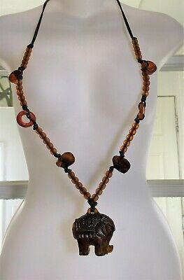 Rare Antique Chinese Amber Carved and gilt Elephant and beads Necklace