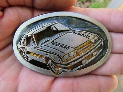 Vtg FORD MUSTANG Belt Buckle 1979 Instyle INDY PACE CAR Badge Cobra RARE VG++