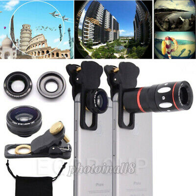 US 10X HD Zoom Telephoto Fish Eye+Wide Angle+Micro Camera Lens For Mobile Phones