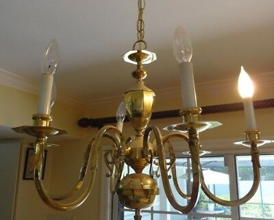 """Vintage 6 Arm Colonial Style Brass/Gold Color Chandelier - 25"""" Diameter"""