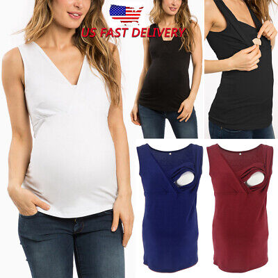 3dbcee6ae80 Maternity Women Sleeveless Strappy Tank Tops Cami Vest Nursing  Breastfeeding Top