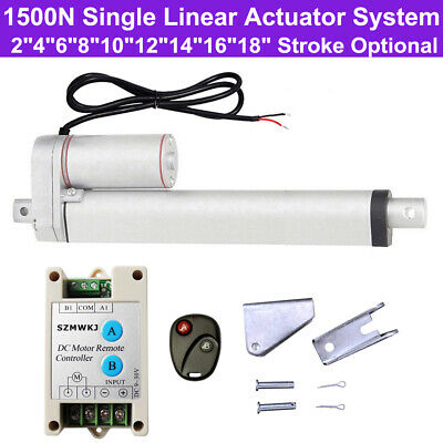 Set of 1500N 330lbs 12V Single Linear Actuator Motor Controller Brackets System
