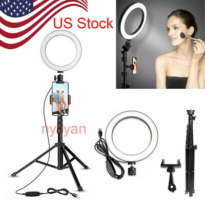 """US 6"""" LED Ring Light W/Tripod&Phone Holder For Makeup Live Stream Photography"""