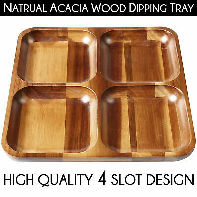 LUXURIOUS Natural Acacia Wood CHIP & DIP 4 SLOT SERVING TRAY Food Nut Platter