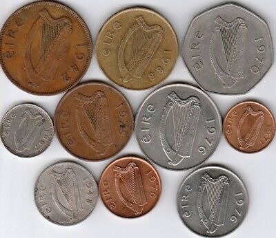 10 different world coins from IRELAND