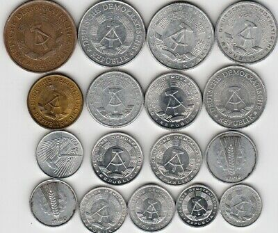 17 different world coins from EAST GERMANY